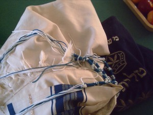A Jewish prayer shawl with distinctive t'khelet fringes