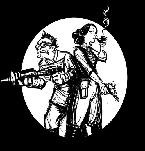 Babbage and Lovelace as drawn in 2D Goggles