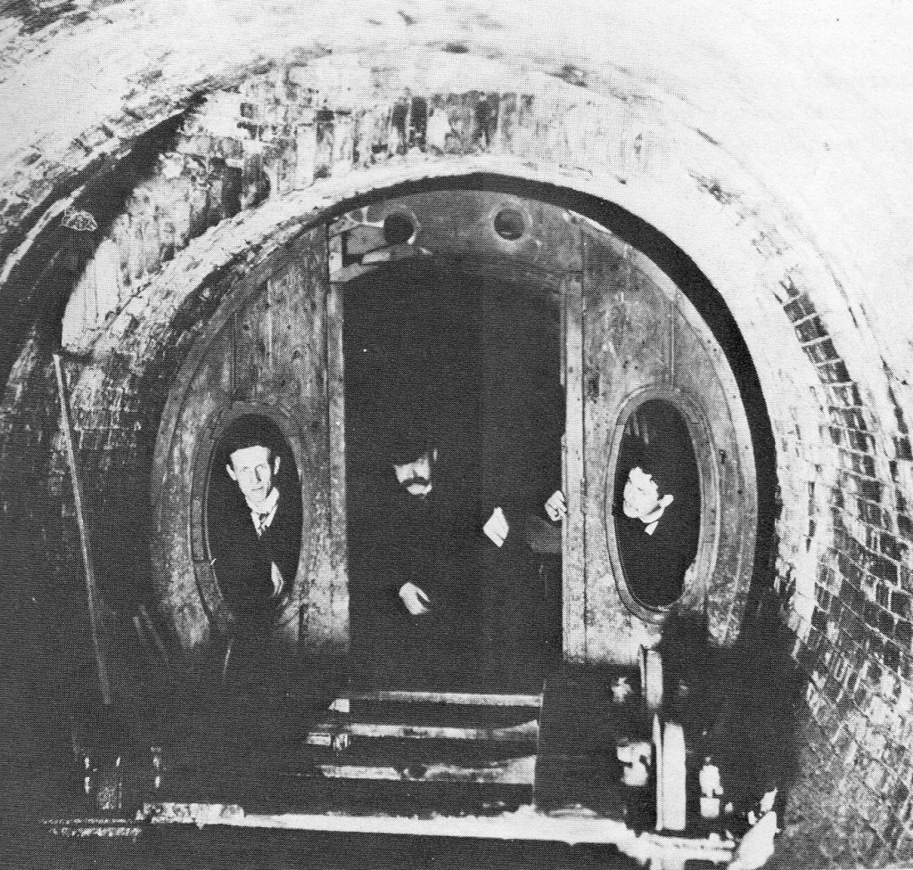 1912 photograph of rediscovered tunnel and carriage