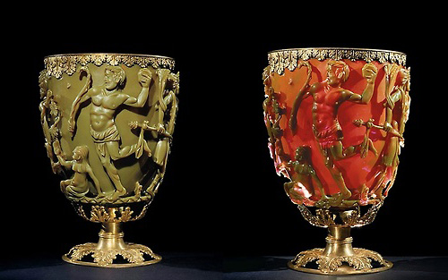 The Lycurgus Cup, lit from front and behind.